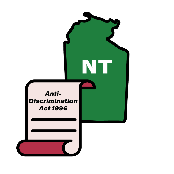 Map of NT with an Anti-Discrimination Act 1996 icon
