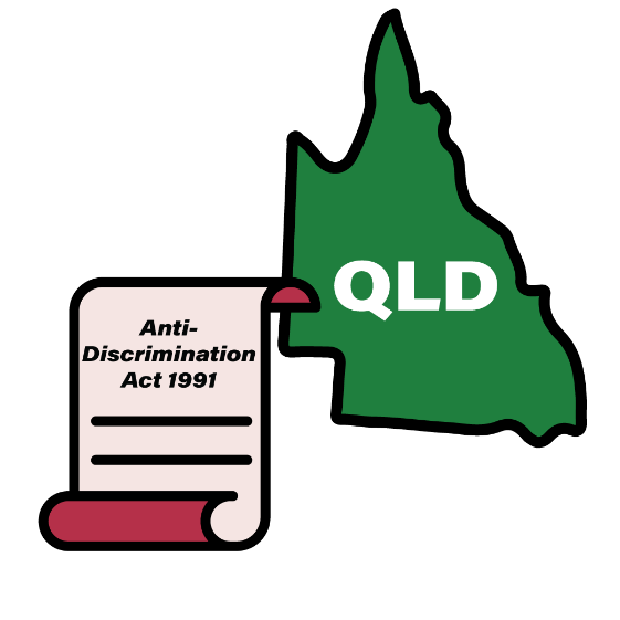 Map of QLD with an Anti-Discrimination Act 1991 icon