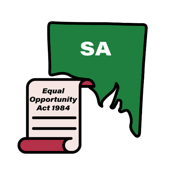 Map of SA with an Equal Opportunity Act 1984 icon