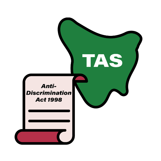 Map of TAS with an Anti-Discrimination Act 1998 icon