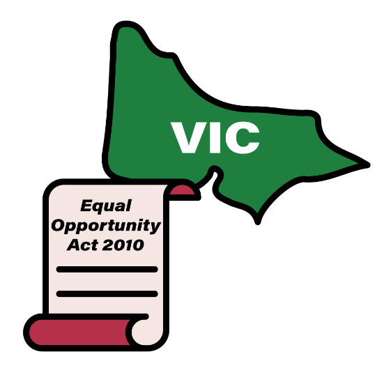 Map of VIC with an Equal Opportunity Act 2010 icon