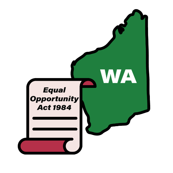 Map of WA with an Equal Opportunity Act 1984 icon