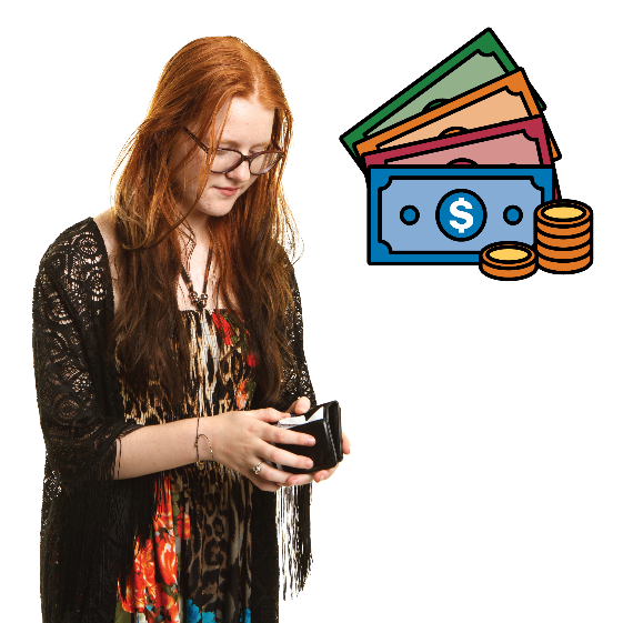 Young girl looking at her wallet. There is a money icon above her.