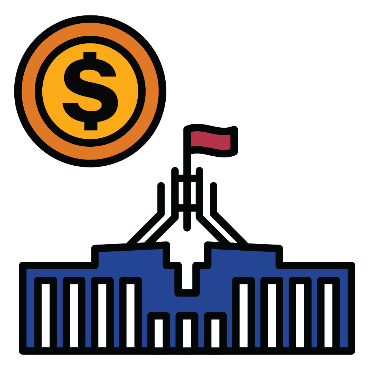 A federal government building and a symbol for money