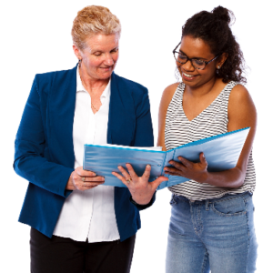 Two women looking at a folder together