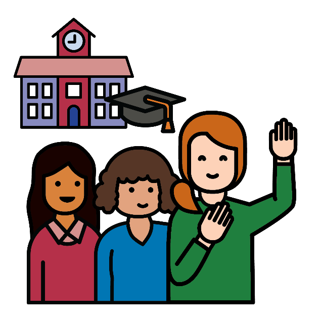 three girls, one has her hand raised. behind them is a school.