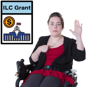 Woman pointing at herself with her other hand raised. There is also an ILC Grant icon next to her.