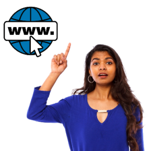 Woman with her hand raised saying what she thinks about the website