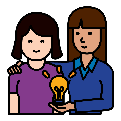 Mentor holding a lightbulb with another woman.