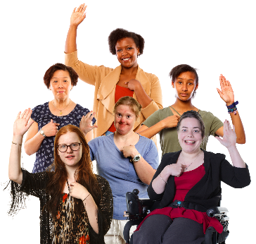 A group of women and girls pointing at themselves and their other hand raised.