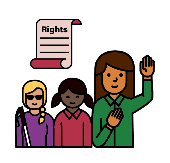 three women with disability, one with her hand up. behind them is a Rights document