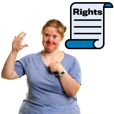 A woman points to herself with one hand and raises her other hand in the air. A rights document is next to her.
