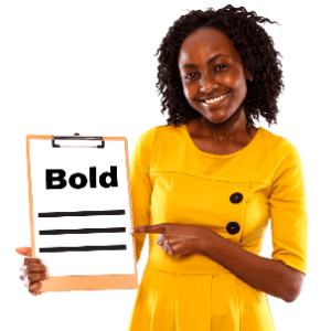 A woman holding a document that says Bold
